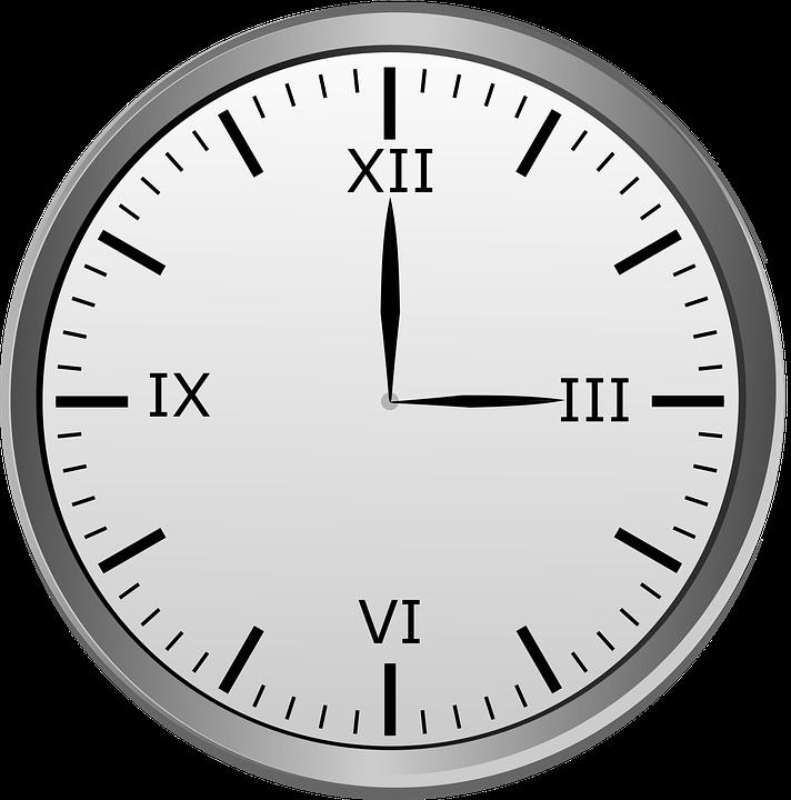 Free photo 12 Hour Clock 3 00 Roman Clock Roman Numerals - Max Pixel