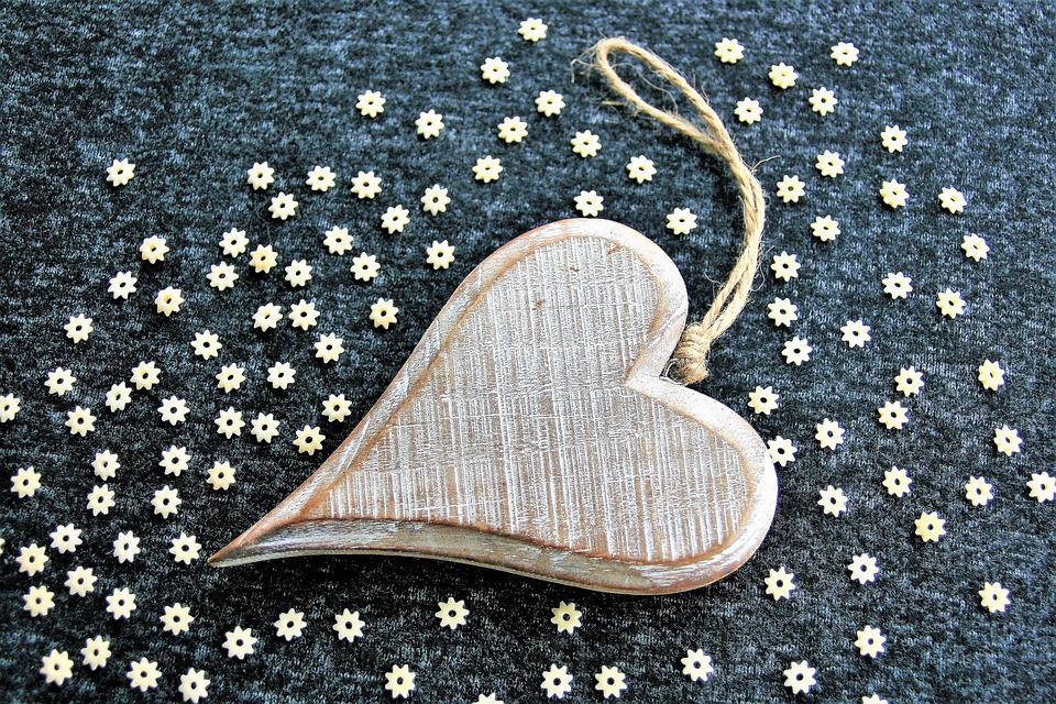 Wooden Heart, Valentine's Day, February, 14, Gray