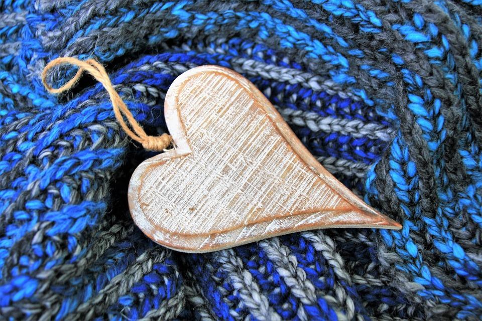 Blue, Wooden Heart, February, 14, Wool, Lovely, Model