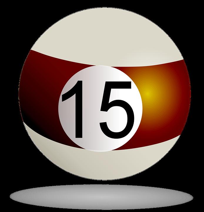 Billiard Striped Ball Brown, 15, Billiard, Pool, Game