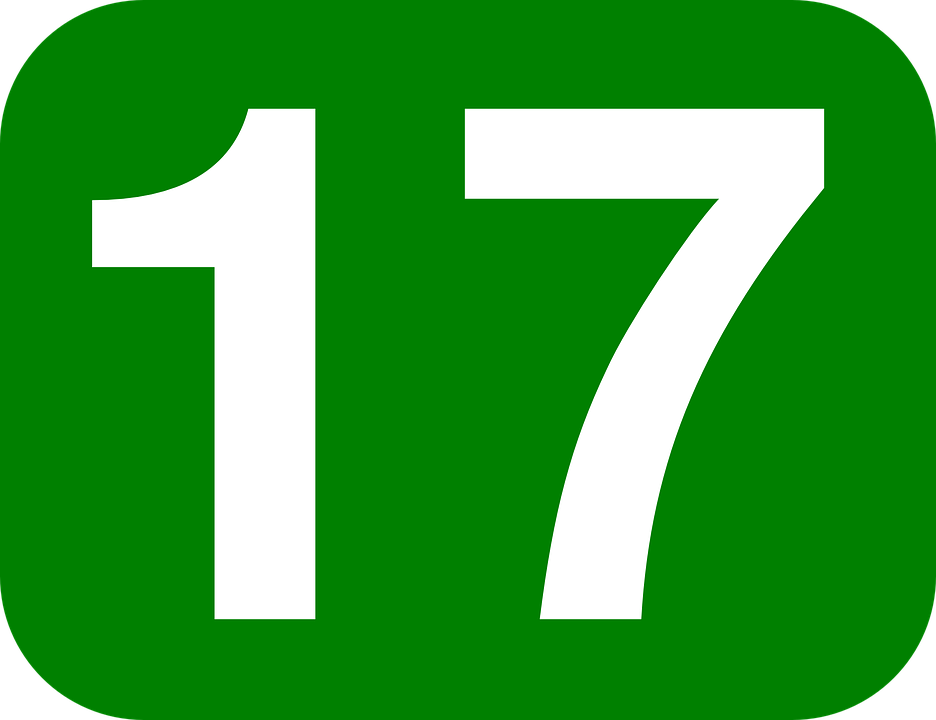 Number, 17, Rectangle, Rounded, Green, White