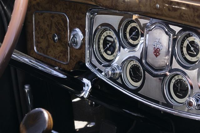 Packard 8, Convertible, 1930th, Retro, Dashboard