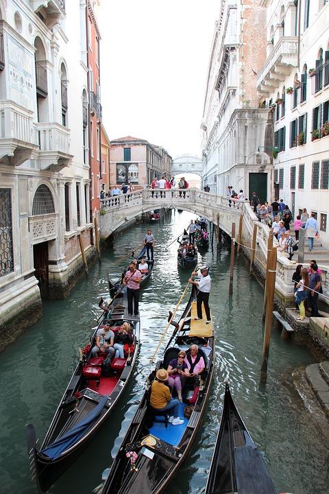 Gondolas, Canals, Venice, 2016
