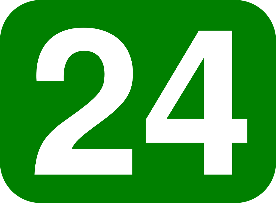 Number, Rectangle, Rounded, Green, White, 24