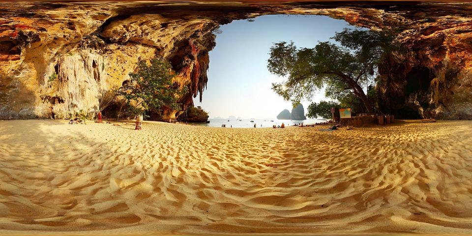 Beach, Mountain, 360, Ocean, Landscape, Mountains