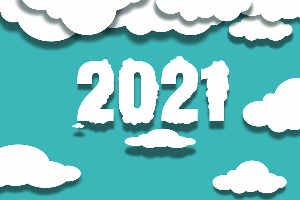 New Year, 2021, Clouds, 3d, Celebration
