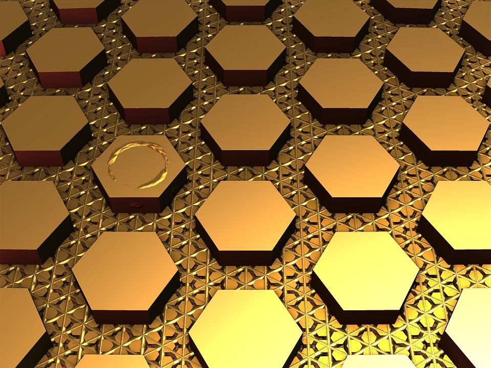Fractal, 3d, Geometric, Gold, Golden