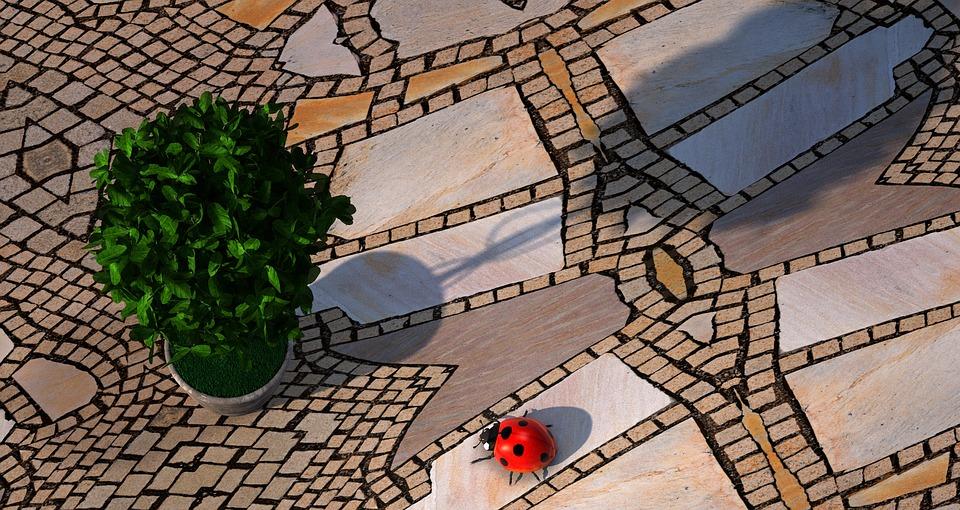 Beetle, Plant, Garden, Stones, Mosaic, 3d, Ladybug