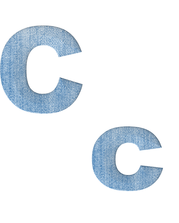 Fabric, 3d, Denim, Alphabet, Letter C, Font, Text, Type