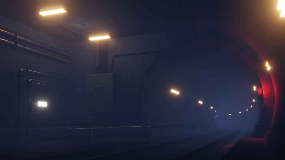 Tunnel, Metro, Rail, Station, Dark, Mist, 3d