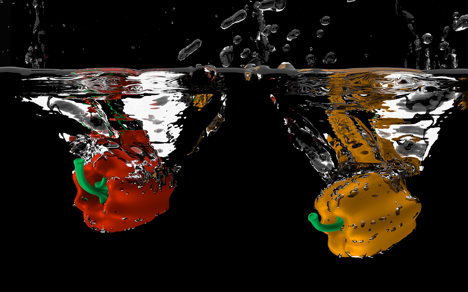 Paprika, Water, Vegetables, 3d, Raytracing, Air Bubbles