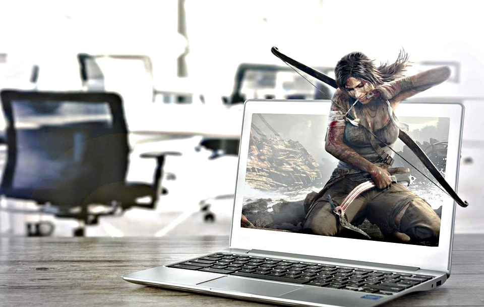 Tomb Raider, Laptop, Office, Survival, Realistic, 3d