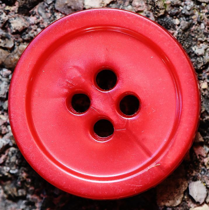 Buttons, 4 Holes, Red, Close Up, Button, Color