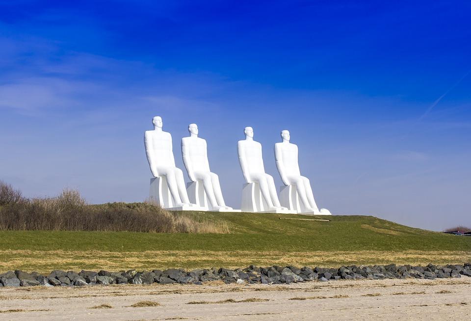 Esbjerg, White Men, Sculpture, Denmark, 4 Men Seated