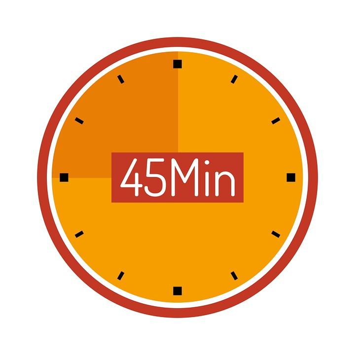 Clock, 45 Min, Wait, Countdown, Plan, Cooking Time
