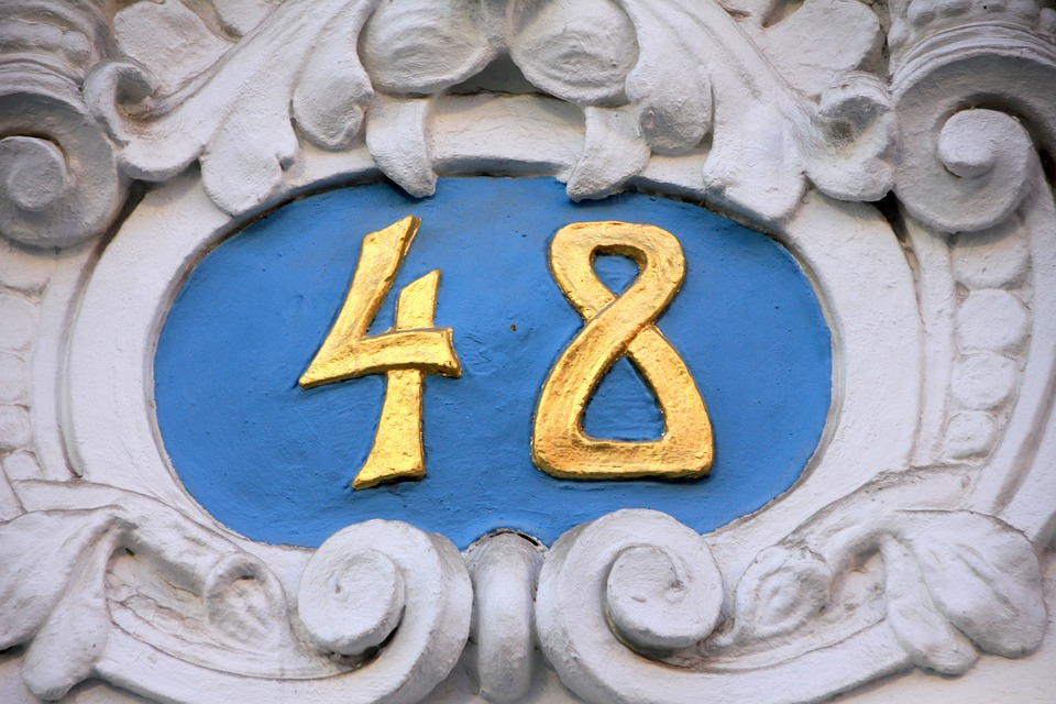 Number, Pay, House Number, 48 Forty Eight, Blue, Gold