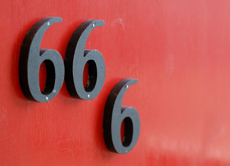 Door, Number, 666, Red, Black, Wood, Close Up