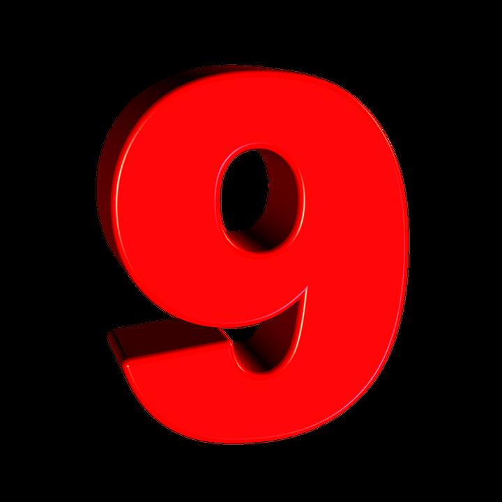 Nine, Number, 9, Digit, Font