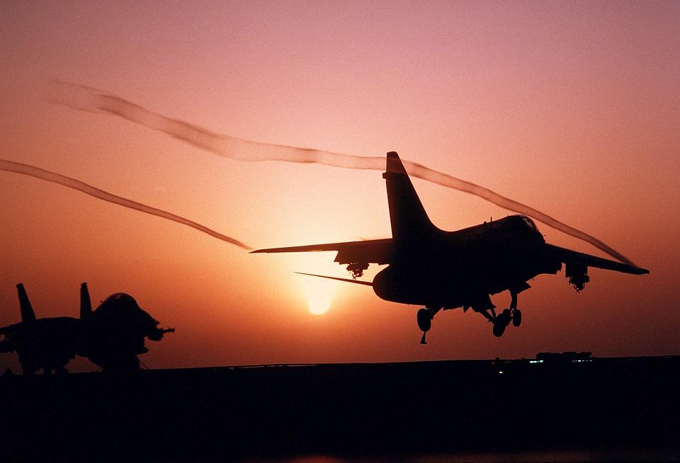 Aircraft, Fighter Jet, A-7 Corsair, Sunset, Sunrise