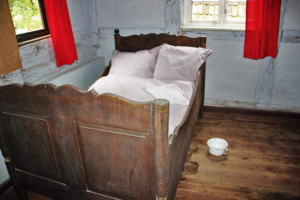 Bedroom, Formerly, A Long Time Ago, Wooden Bed