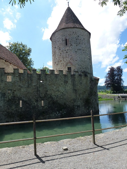 Aargau, Switzerland, Castle, Hallwyl, Moated Castle