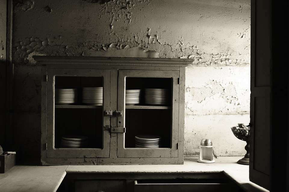 Abandoned Building, Old Building, Kitchen, Plates