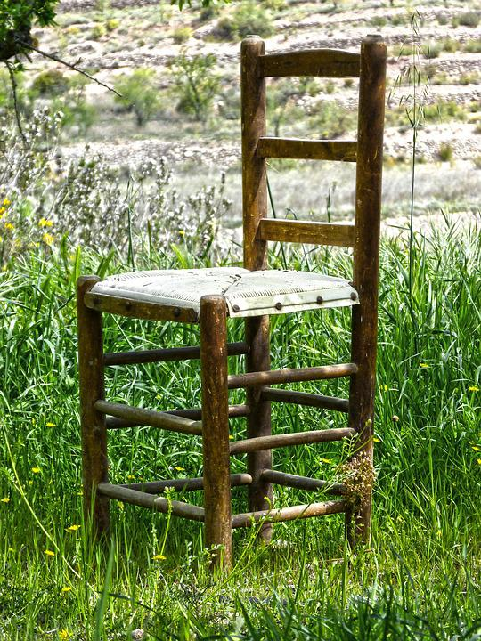 Chair, Field, Old, Abandoned