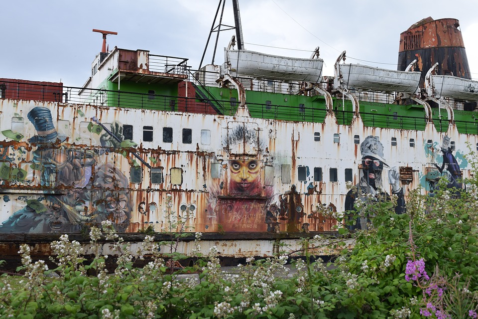 Duke Of Lancaster, Graffiti, Abandoned, Ship, Dirty