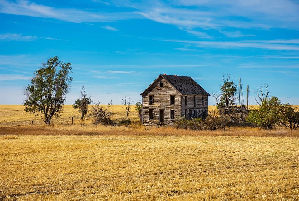 Farm, Abandoned House, Farming, Wheat, Fields