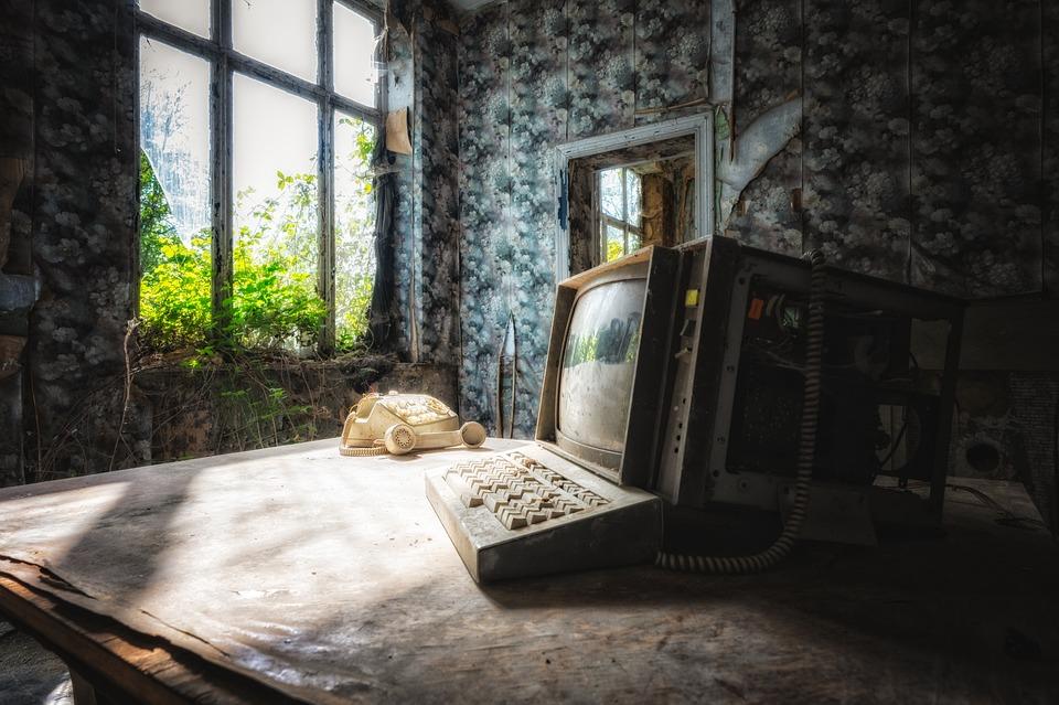 Vintage, Computer, Telephone, Desk, Monitor, Abandoned