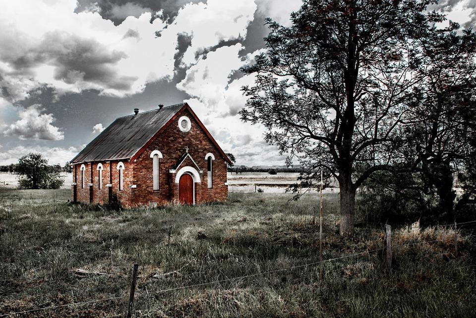 Church, Abandoned, Worship, Brick, Clouds, Religious