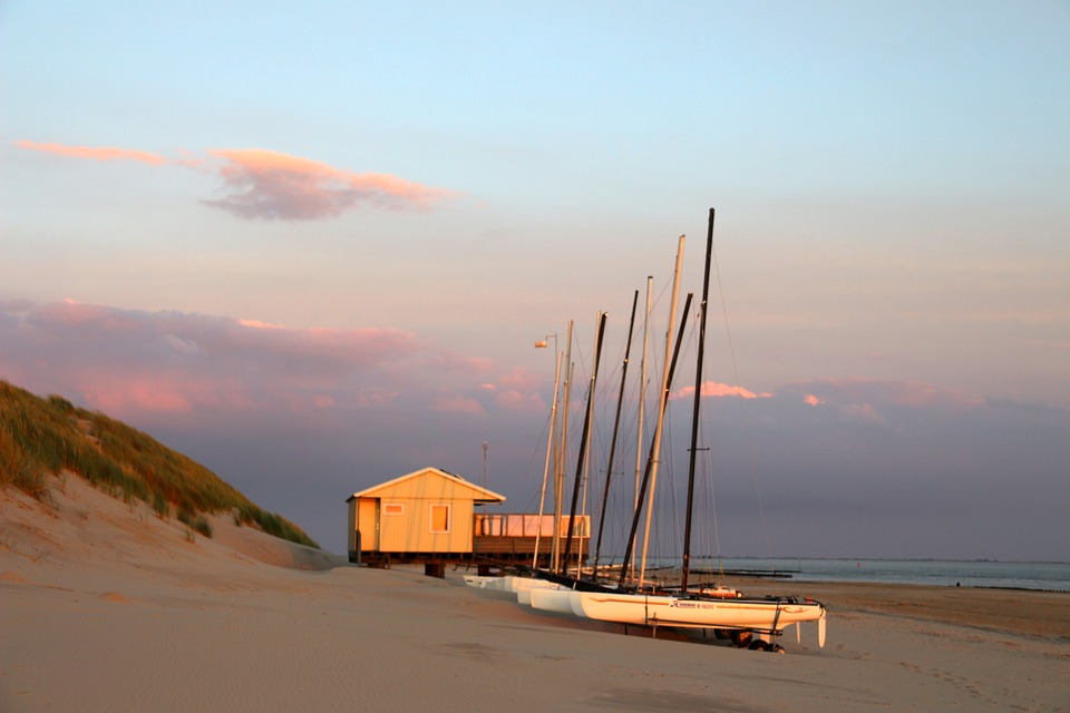 Boats, Beach, Abendstimmung, Afterglow, Sea