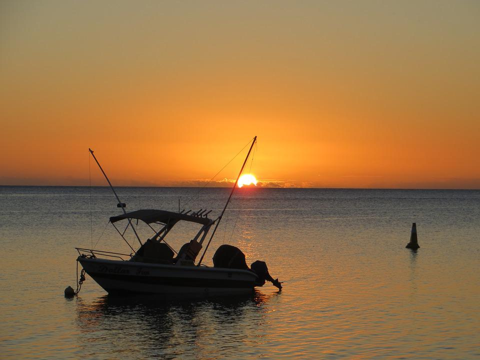 Abendstimmung, Sunset, Sea, Boot, Mauritius, Afterglow