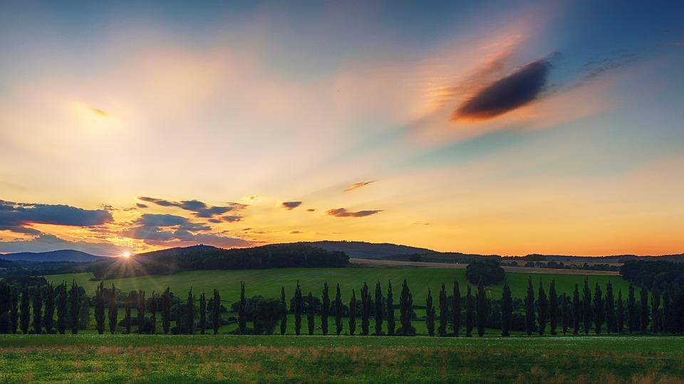 Sunset, Dawn, Nature, Sky, Sun, Clouds, Abendstimmung
