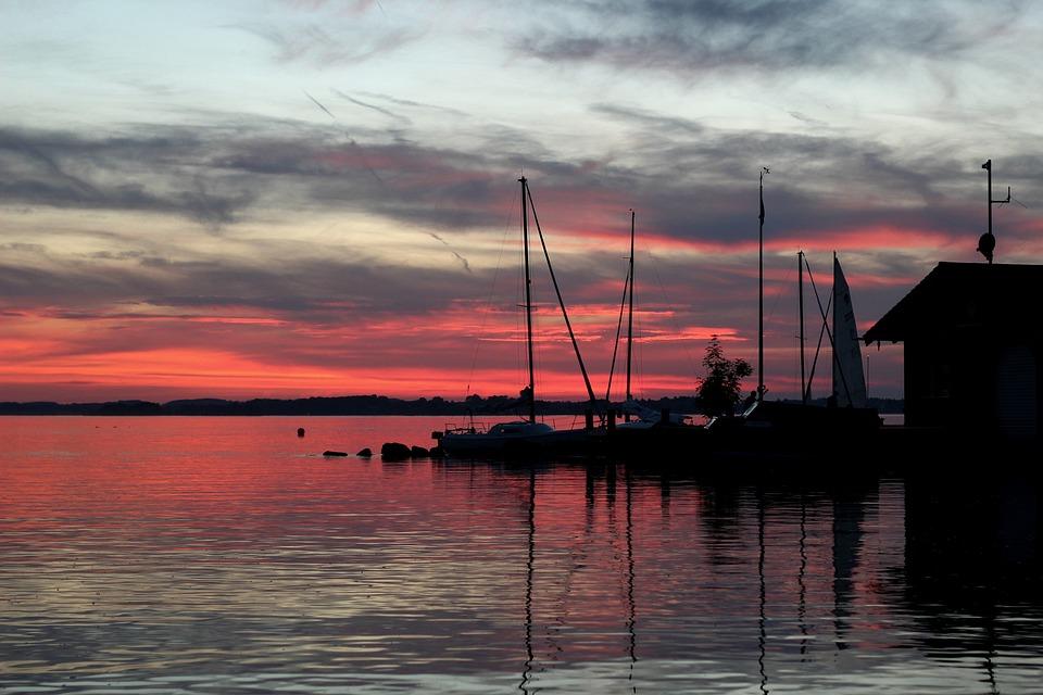 Sunset, Lake, Boats, Clouds, Abendstimmung, Reflection