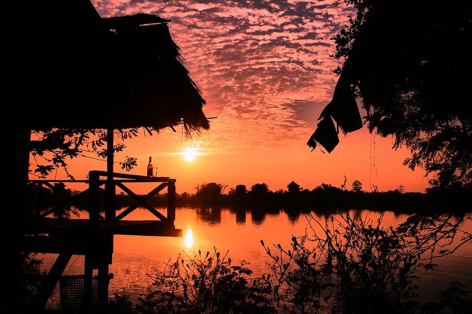 Abendstimmung, Drink, Sunset, Water, River, Mood, Beer