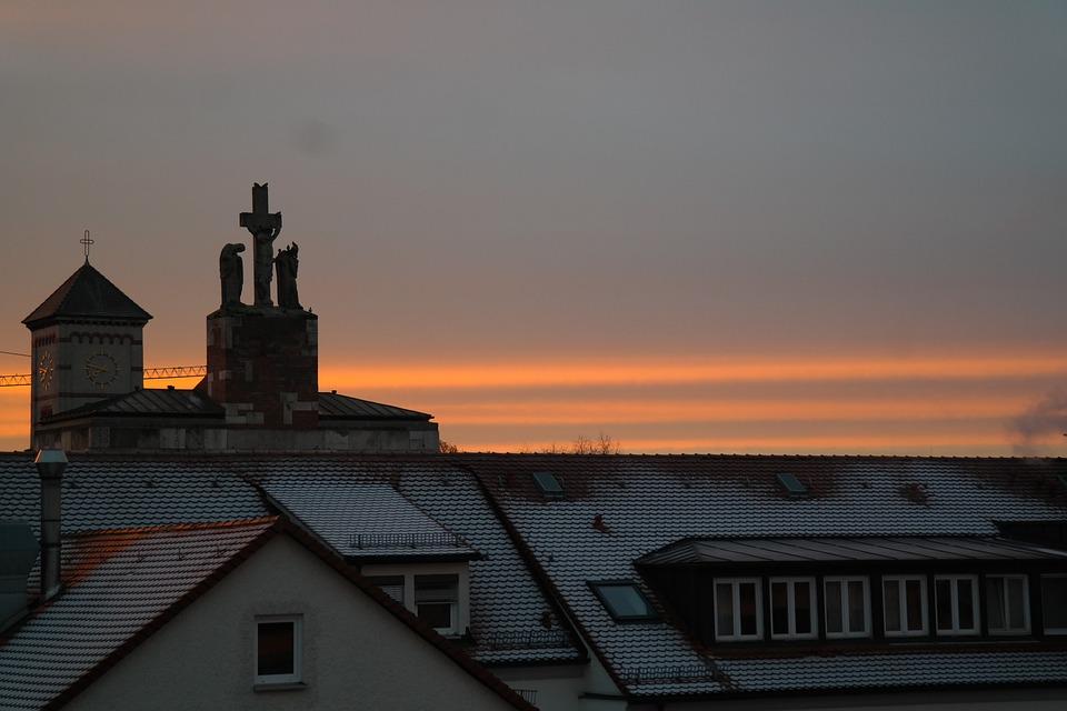Houses, Church, Steeple, Abendstimmung, Sunset, Sky