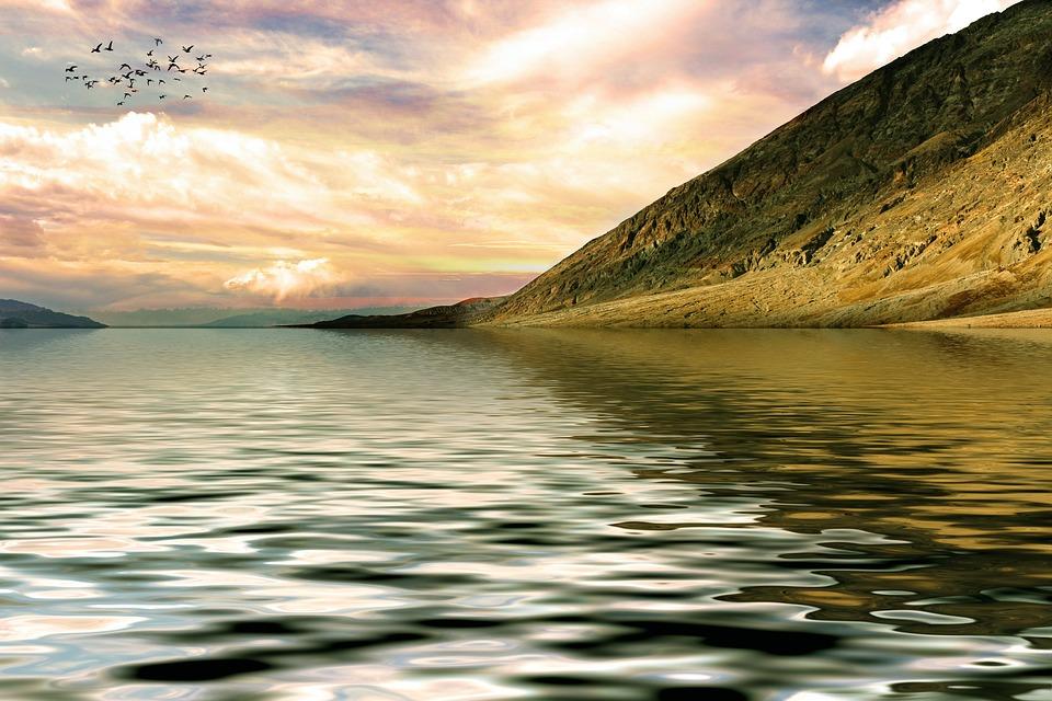 Mountain, Lake, Landscape, Nature, Abendstimmung, Sky