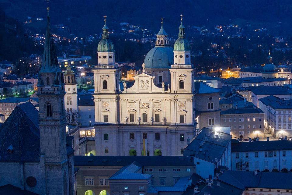 Salzburg Cathedral, Salzburg, Austria, Abendstimmung