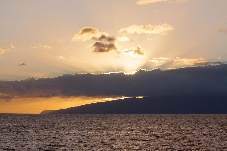Sea, Sun, Clouds, Abendstimmung, Island, Mainland, Sky