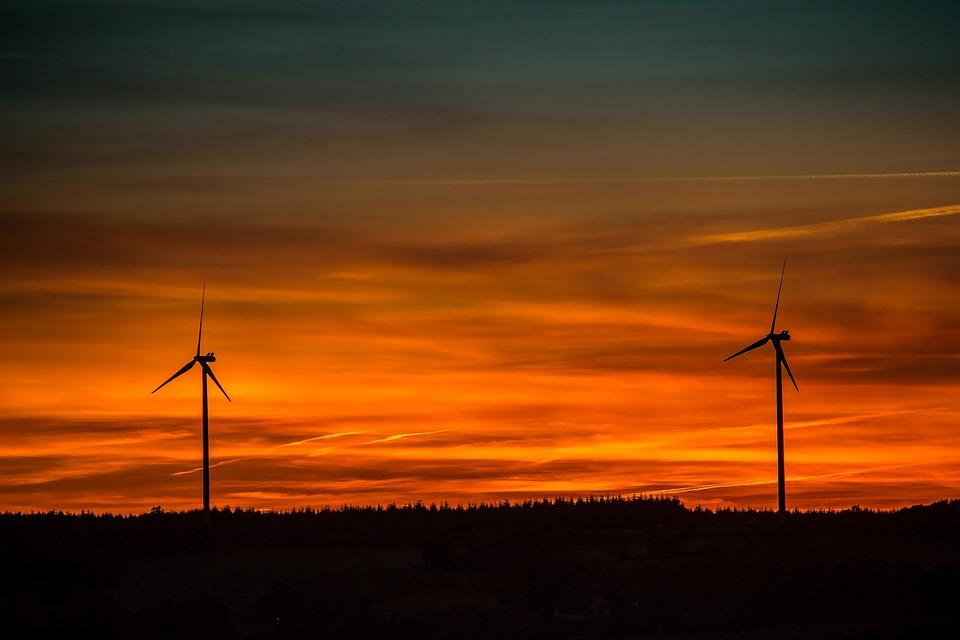 Sunset, Setting Sun, Windräder, Abendstimmung