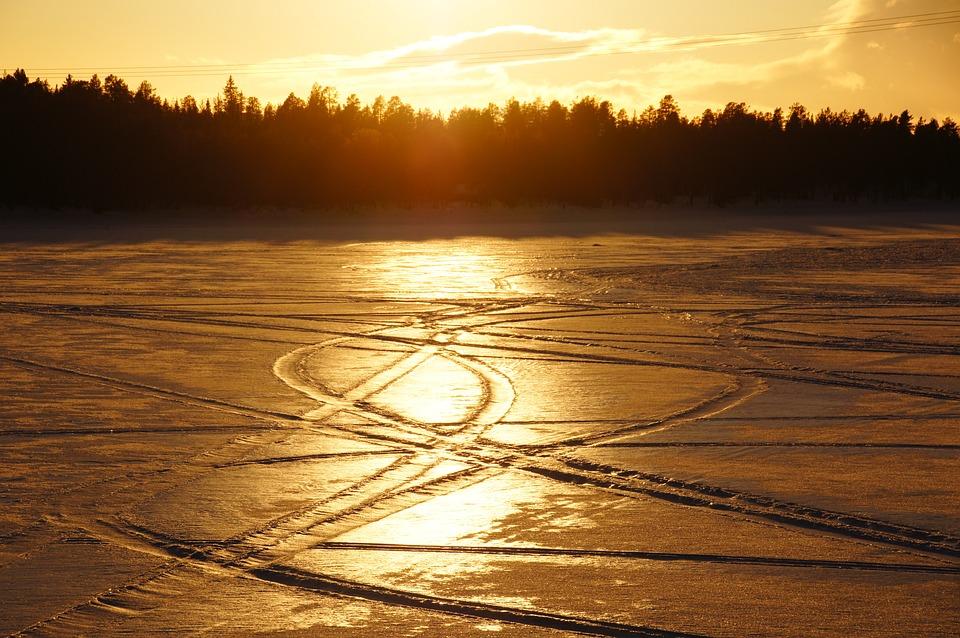 Snow, Traces, Sunset, Abendstimmung, Snow Lane
