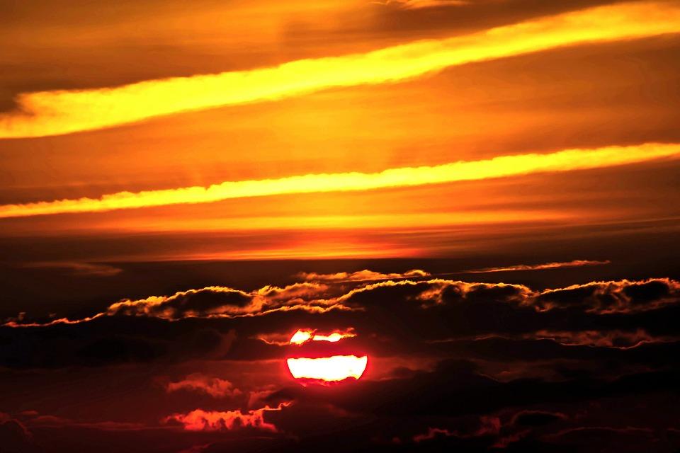 Sunset, Sun, Setting Sun, Abendstimmung, Clouds