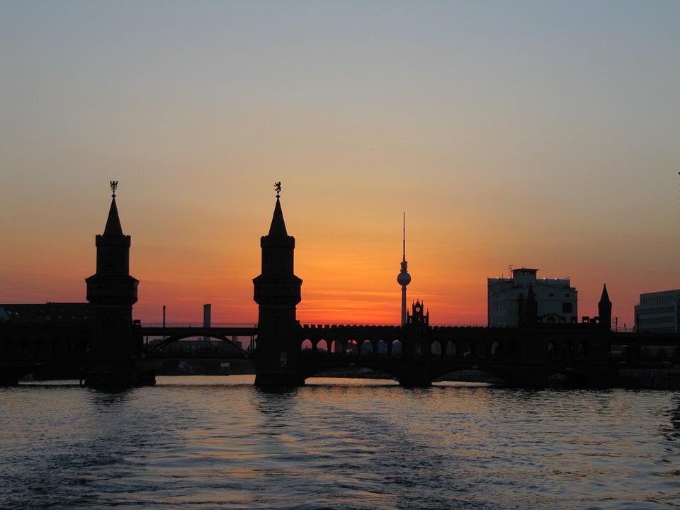 Berlin, Oberbaumbrücke, Abendstimmung, Spree, Tv Tower