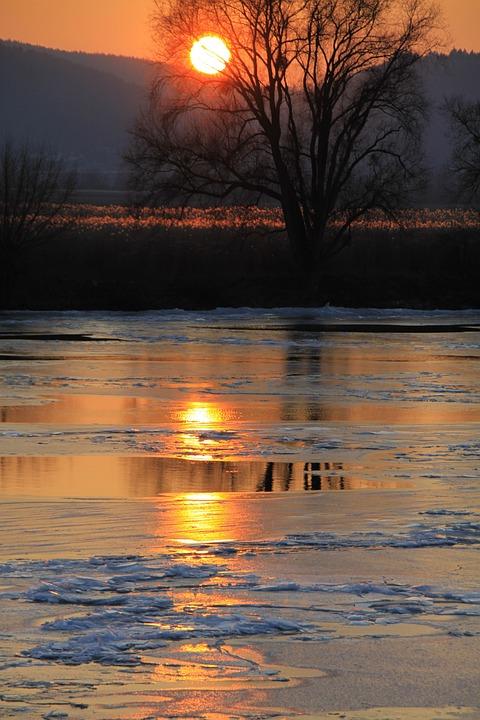 Evening, Sunset, Afterglow, Water, Ice, Abendstimmung