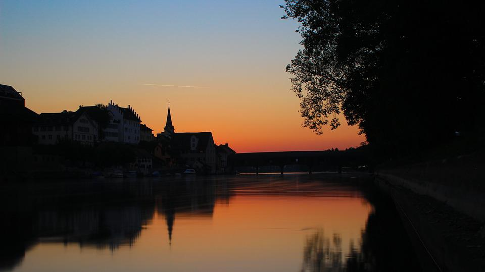 Sunset, Water, Mirroring, Abendstimmung, Blue Hour