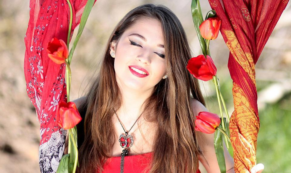 Girl, About, Red, Smile, Tulips, Seductive