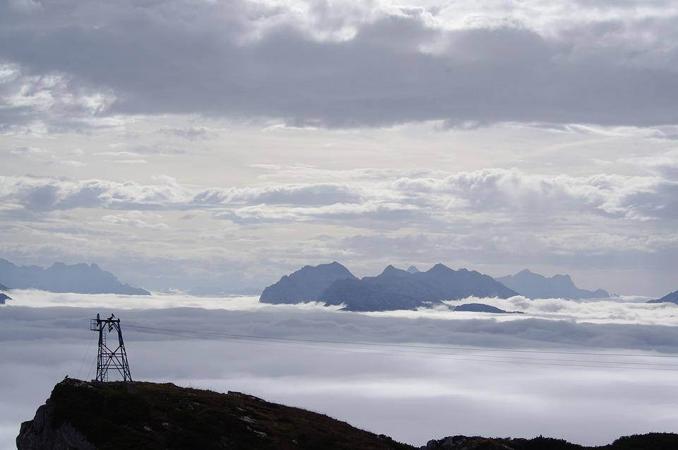 Cable Car, Summit, Above The Clouds, Sky, Landscape