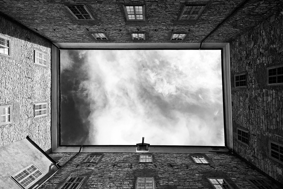 Buildings, Sky, Clouds, Black And White, Abstract