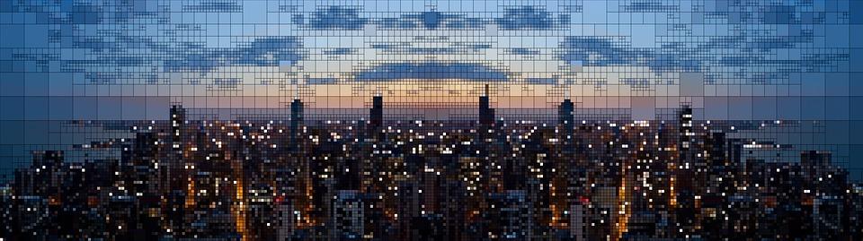 Skyline, Pixel, Abstract, Evening, Abendstimmung